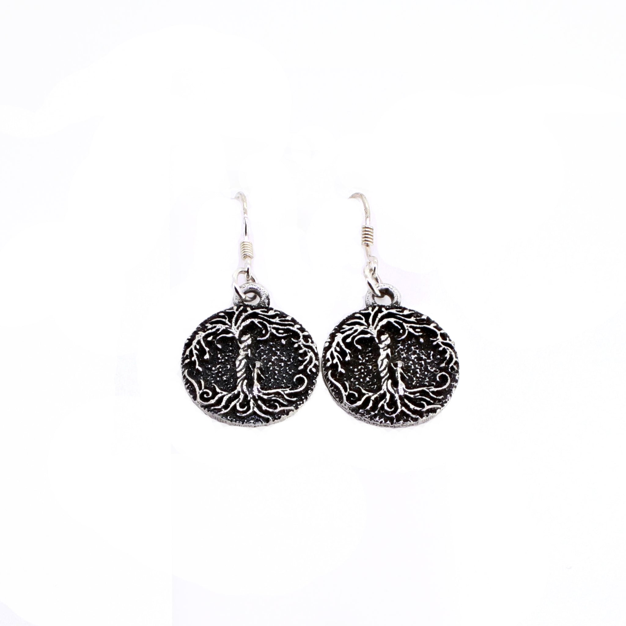 Mom & Daughter 'Tree of Life' Pendant Earrings [Silver]