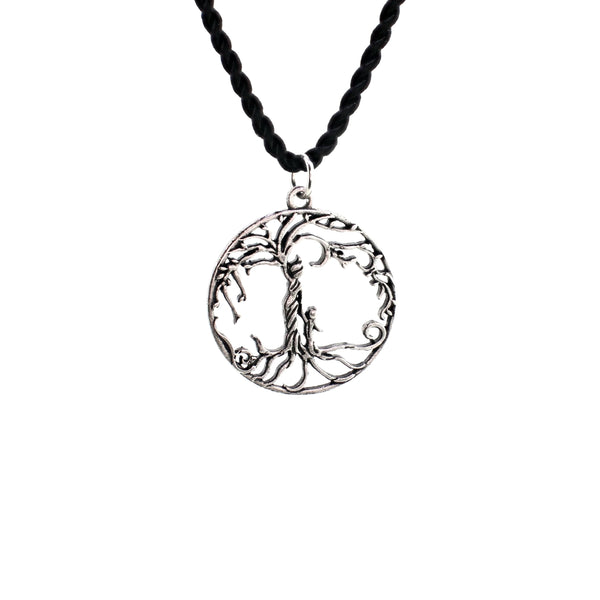 Mom & Son 'Tree of Life' Hollowed-Out Pendant Necklace [Antique Silver]
