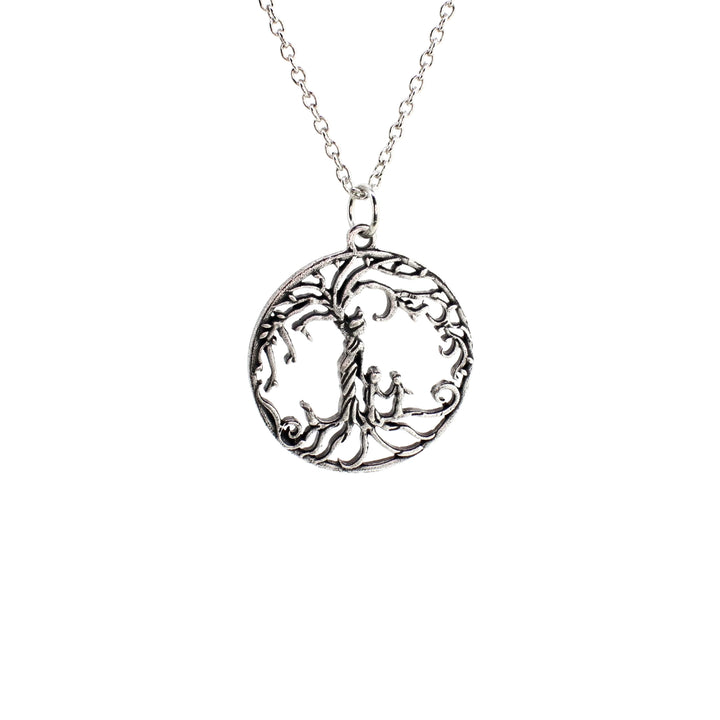 Mom & 2 Child 'Tree of Life' Hollowed-Out Pendant Necklace [Antique Silver]