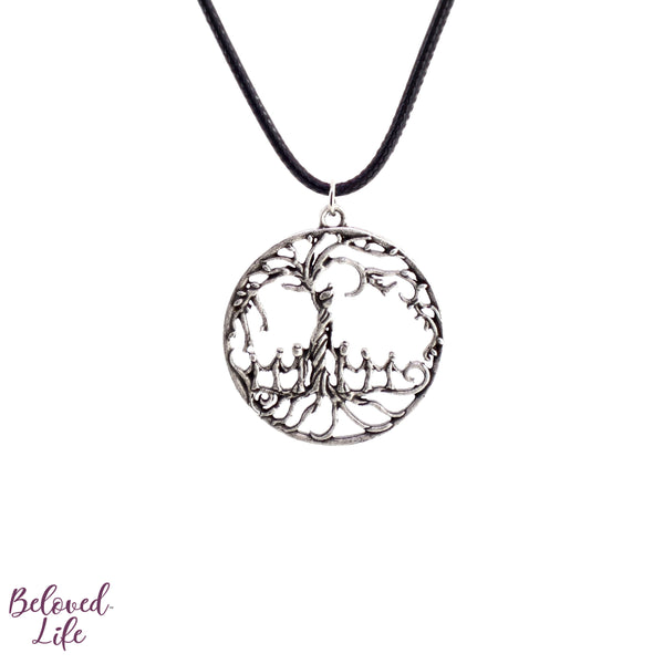 Mom & 6 Child 'Tree of Life' Hollowed-Out Pendant Necklace [Antique Silver]