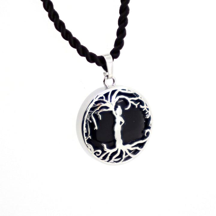 Woman 'Tree of Life' Over Gemstone Pendant Necklace [Silver]