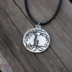 Locket Style Mom & Son 'Tree of Life' Pendant Necklace [Antique Silver]