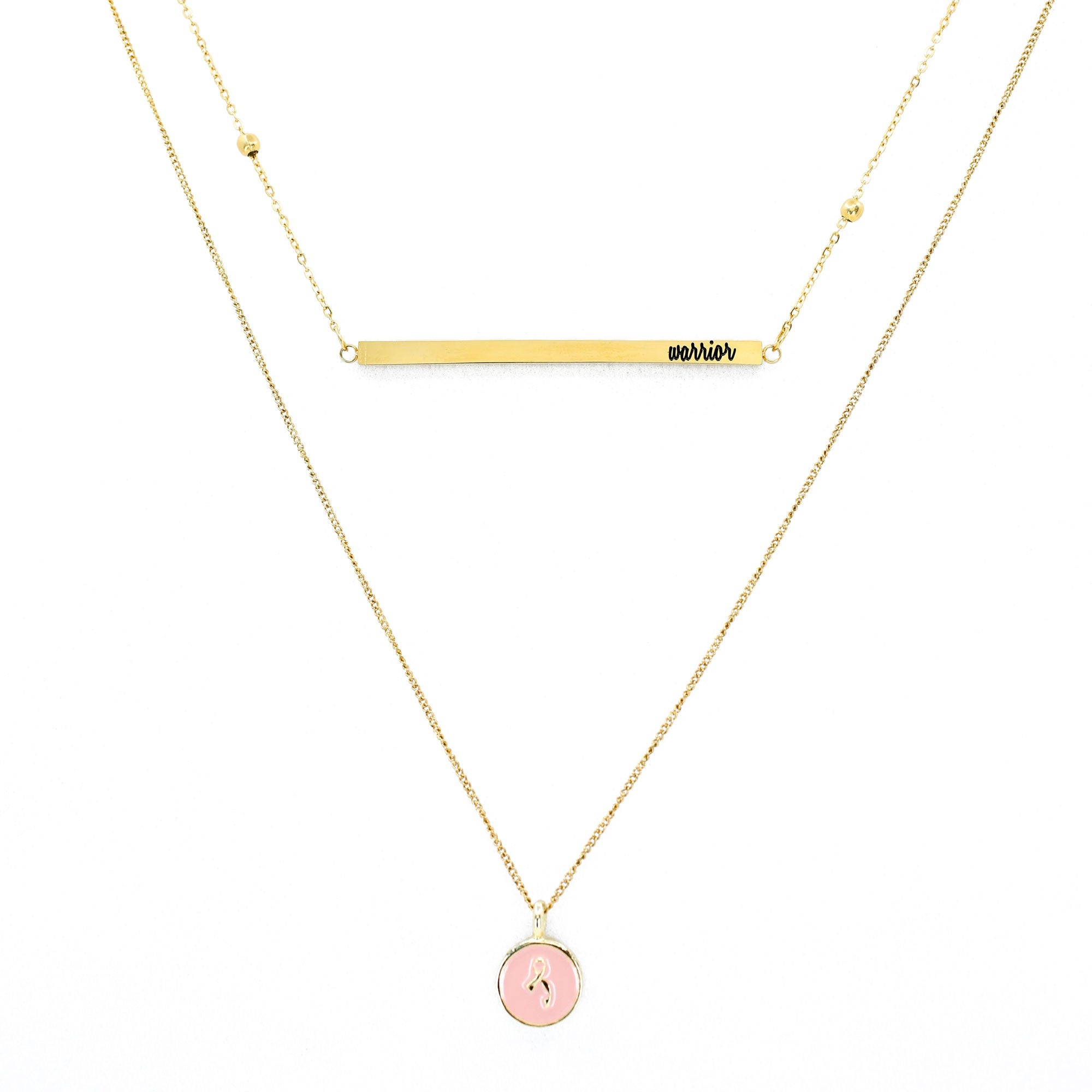 "Breast Cancer ""Warrior"" 2-Layer Necklace"