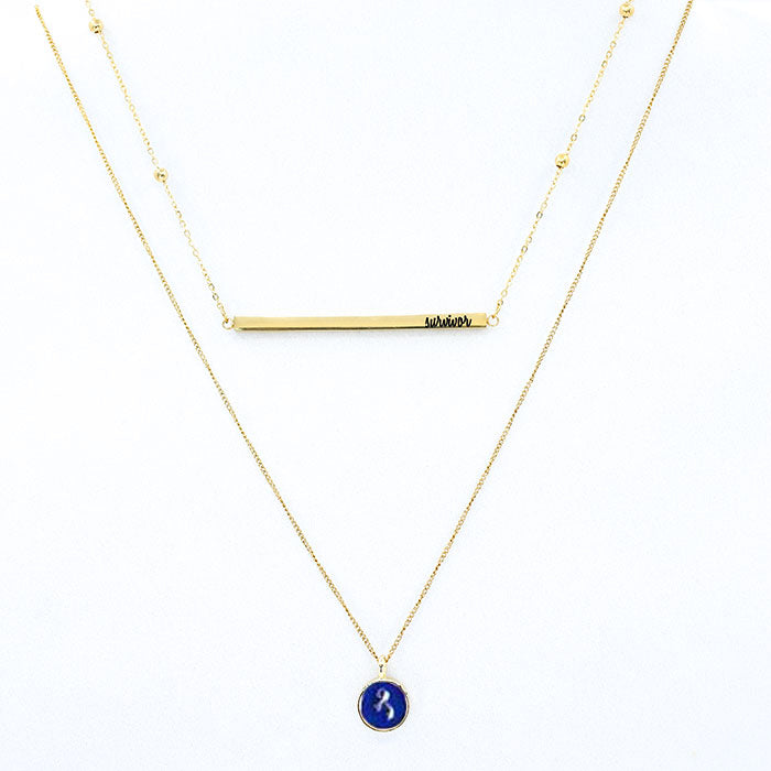 "Colon Cancer ""Survivor"" 2-Layer Necklace"
