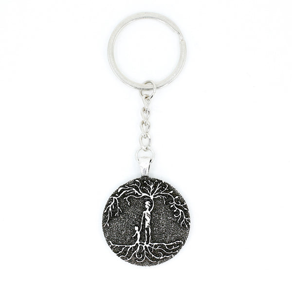 Dad & Son 'Tree of Life' Pendant Keychain [Silver]