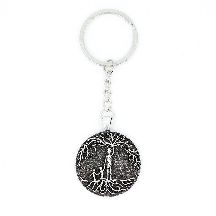 Dad & 2 Child 'Tree of Life' Pendant Keychain [Silver]