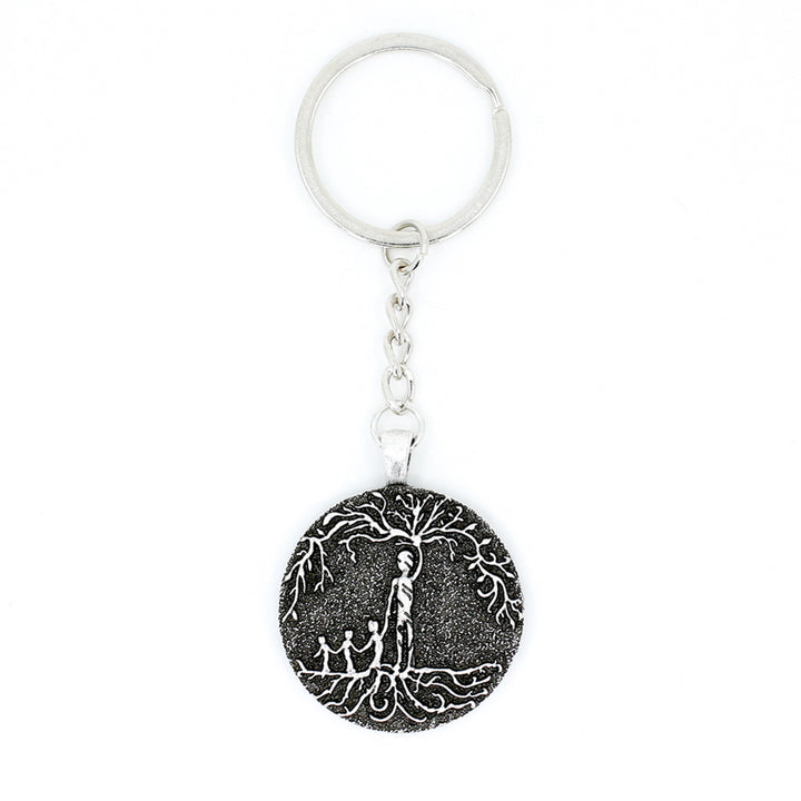 Dad & 3 Child 'Tree of Life' Pendant Keychain [Silver]