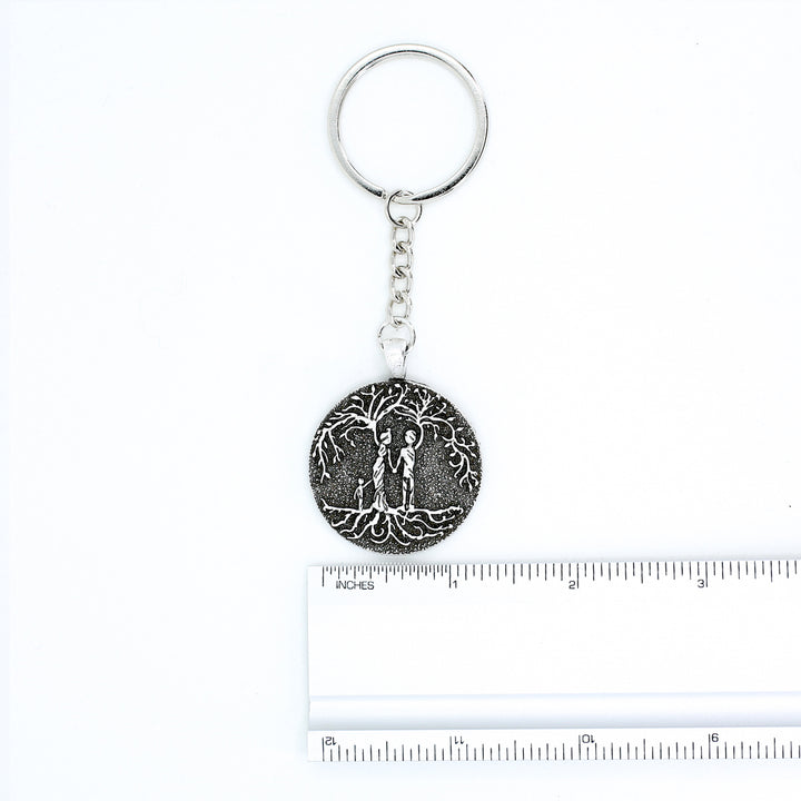 Parents & Son 'Tree of Life' Pendant Keychain [Silver]