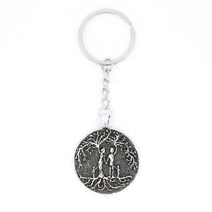 Parents & 2 Child 'Tree of Life' Pendant Keychain [Silver]