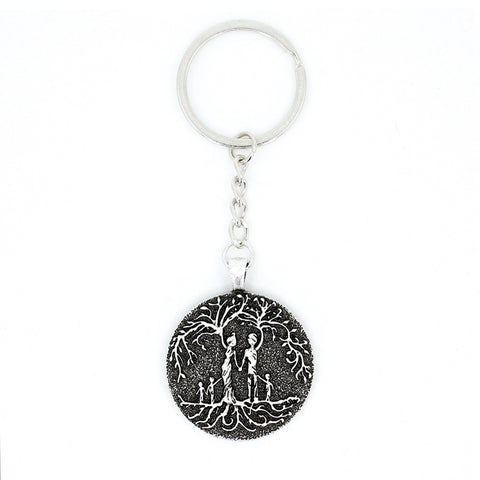 Parents & 3 Child 'Tree of Life' Pendant Keychain [Silver]