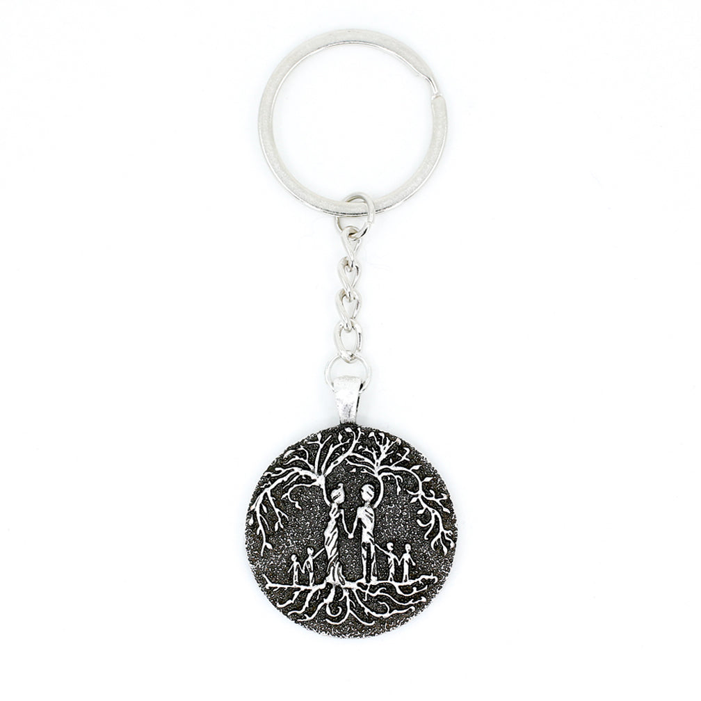 Parents & 4 Child 'Tree of Life' Pendant Keychain [Silver]