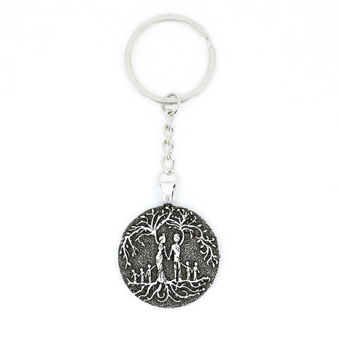 Parents & 5 Child 'Tree of Life' Pendant Keychain [Silver]