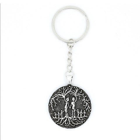 Parents & 6 Child 'Tree of Life' Pendant Keychain [Silver]