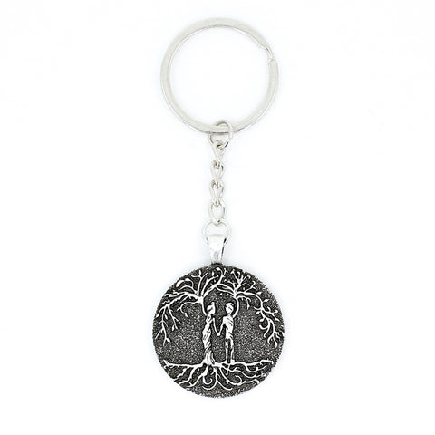 Husband & Wife 'Tree of Life' Pendant Keychain [Silver]