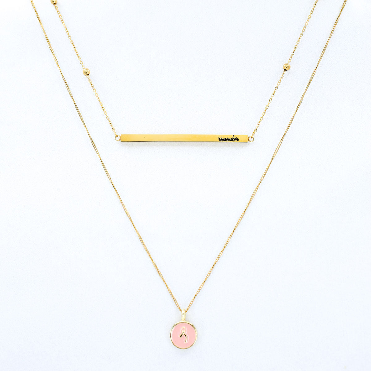 "Breast Cancer ""Remember"" 2-Layer Necklace"
