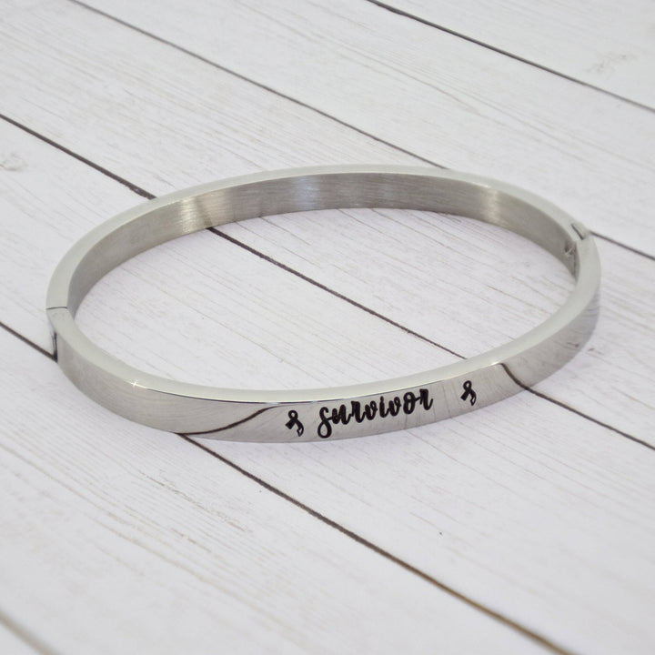 """Survivor"" Cuff Bracelet with Modern Cancer Ribbon"