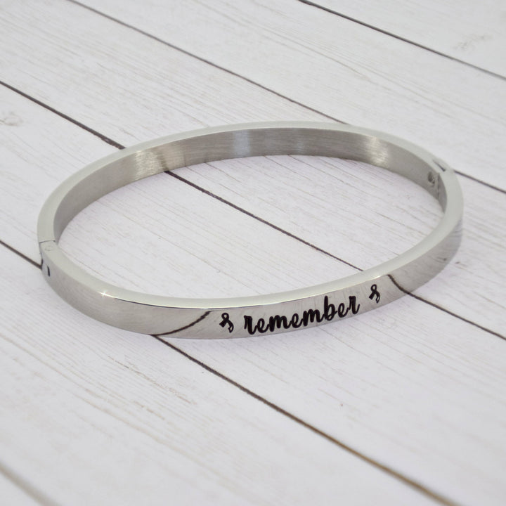 """Remember"" Cuff Bracelet with Modern Cancer Ribbon"
