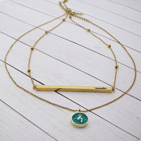 """Remember"" Dainty 2-Layer Necklace (Gold + Enamel Charm)"