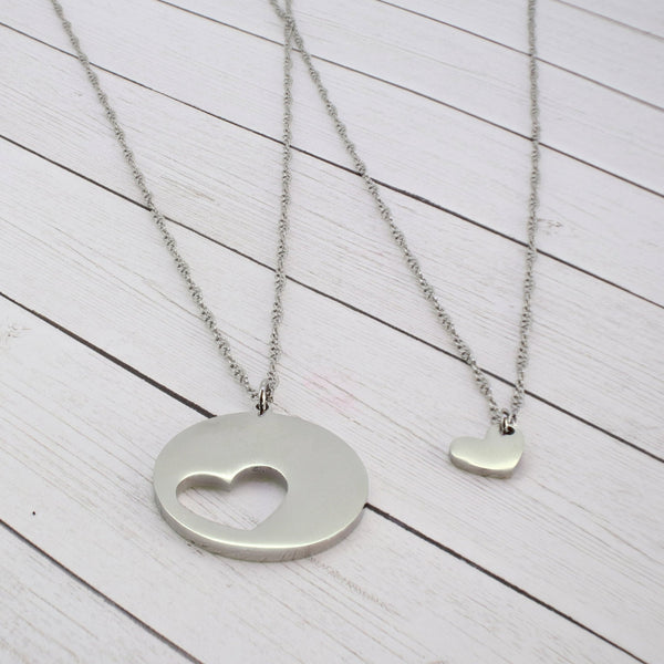 Mommy and Me - Single Heart Necklace Set