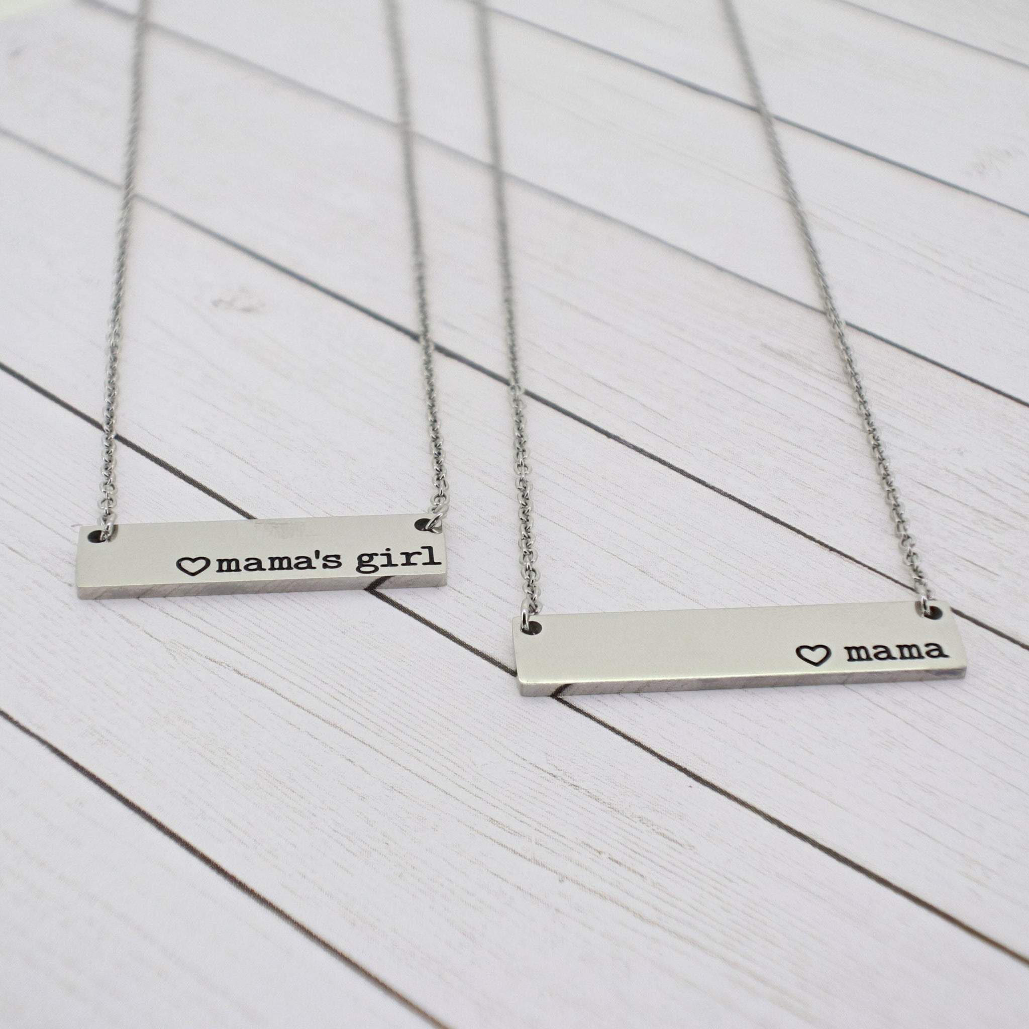 Mommy and Me {Mama + Mama's girl} Bar Necklace Set