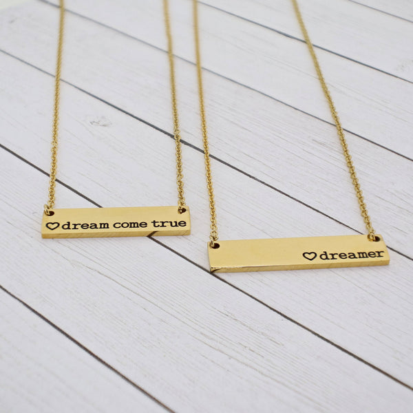 Mommy and Me {Dreamer + Dream Come True} Bar Necklace Set