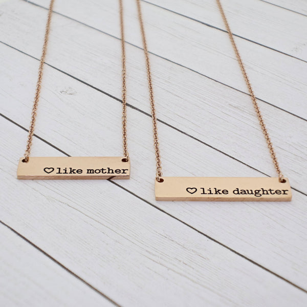 Mommy and Me {Like Mother + Like Daughter} Bar Necklace Set