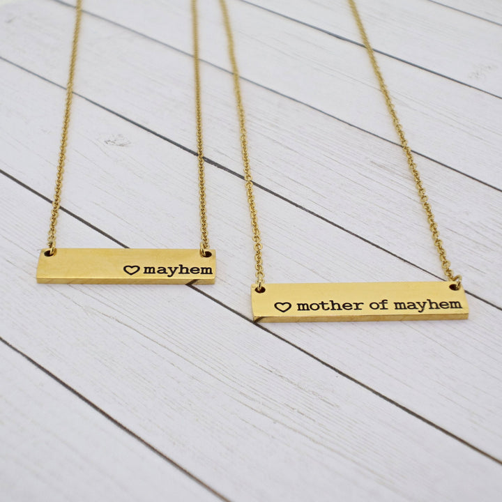 Mommy and Me {Mayhem + Mother of Mayhem} Bar Necklace Set