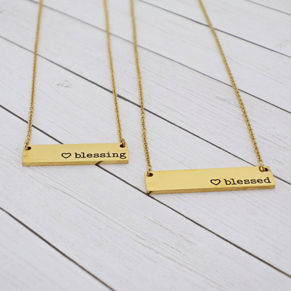 Mommy and Me {Blessed + Blessing} Bar Necklace Set