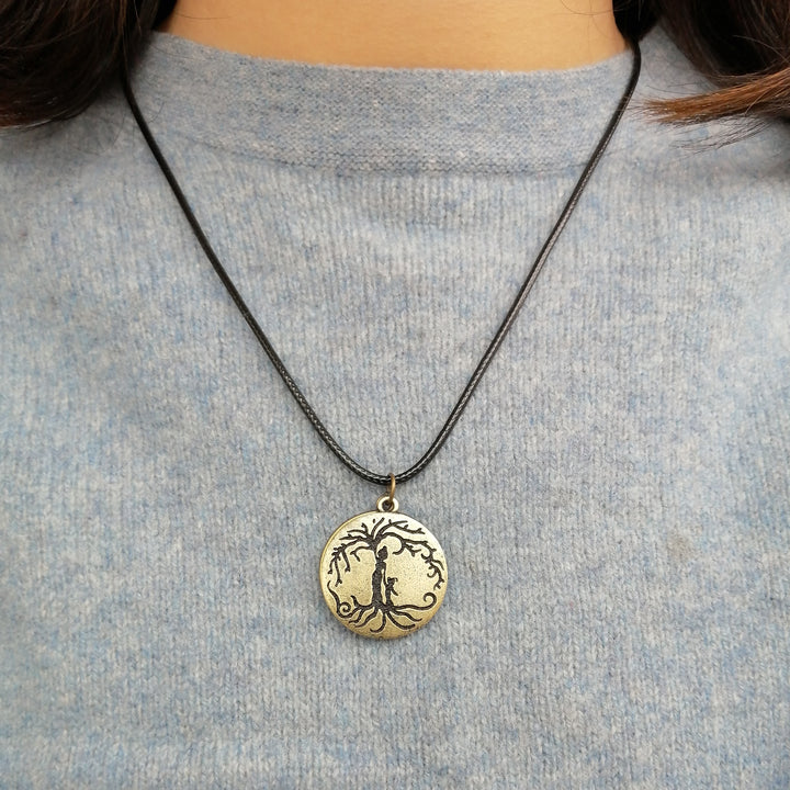 Locket Style Mom & Daughter 'Tree of Life' Pendant Necklace [Antique Bronze]