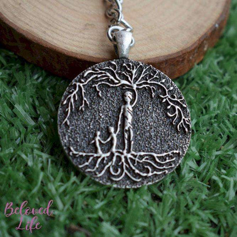 Beloved Life Jewelry: Dad & 2 Child 'Tree of Life' Pendant Keychain [Silver]