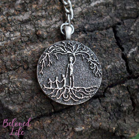 Beloved Life Jewelry: Dad & 3 Child 'Tree of Life' Pendant Keychain [Silver]
