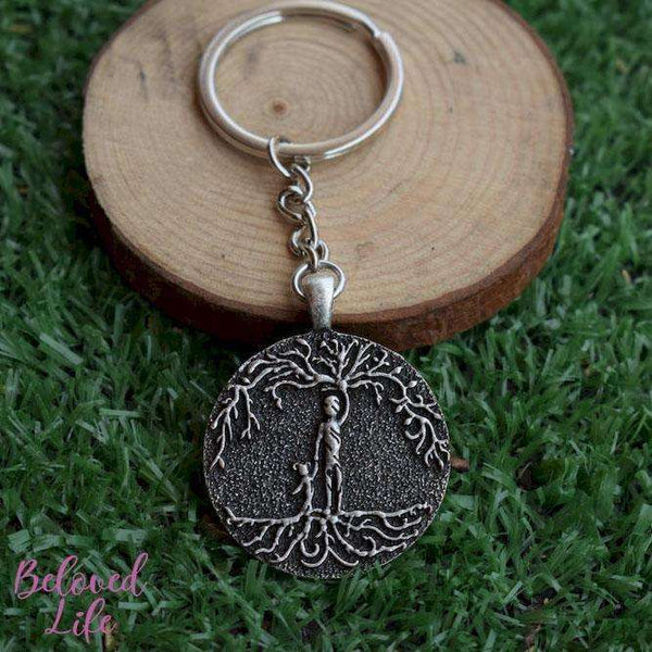 Beloved Life Jewelry: Dad & Daughter 'Tree of Life' Pendant Keychain [Silver]