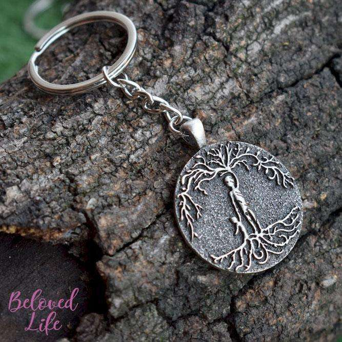 Beloved Life Jewelry: Dad & Son 'Tree of Life' Pendant Keychain [Silver]