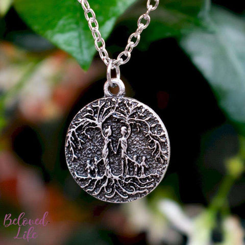 "Beloved Life Jewelry: ""Dainty"" Parents & 4 Child 'Tree of Life' Necklace [Silver]"