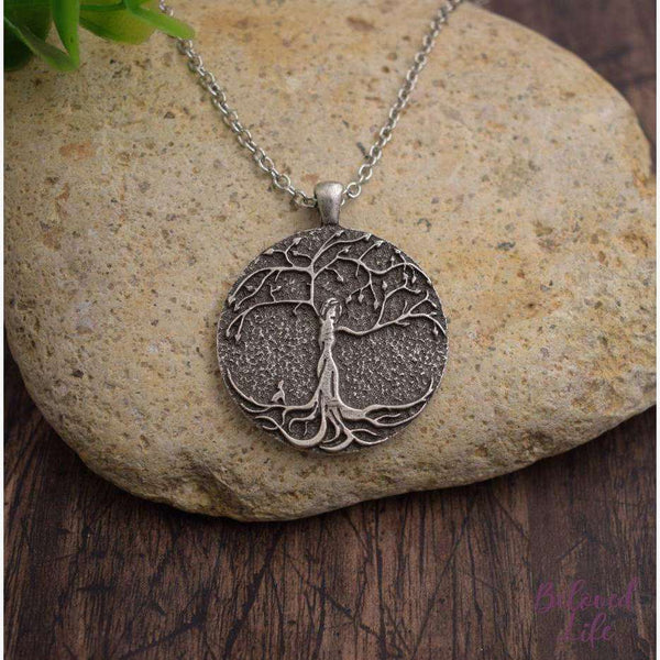 Beloved Life Jewelry: Dog Mom w/ 1 Puppy 'Tree of Life' Pendant Necklace [Silver]