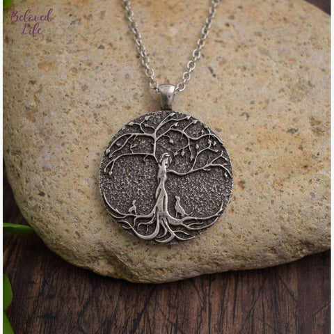 Beloved Life Jewelry: Dog Mom w/ 2 Puppies 'Tree of Life' Pendant Necklace [Silver]
