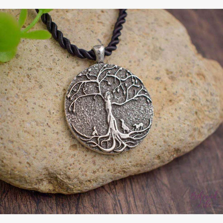 Beloved Life Jewelry: Dog Mom w/ 3 Puppies 'Tree of Life' Pendant Necklace [Silver]