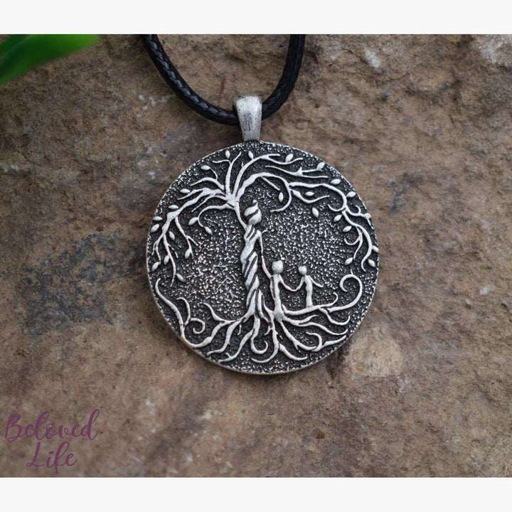 Beloved Life Jewelry: Grandmother & 2 Grandchild 'Tree of Life' Pendant Necklace [Silver]