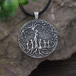 Beloved Life Jewelry: Grandmother & 5 Grandchild 'Tree of Life' Pendant Necklace [Silver]