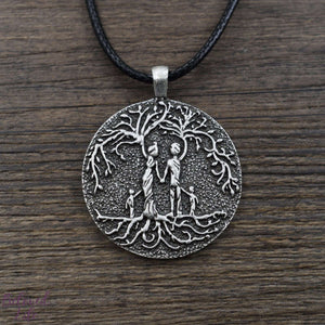 Beloved Life Jewelry: Grandparents & 2 Grandchild 'Tree of Life' Pendant Necklace [Silver]