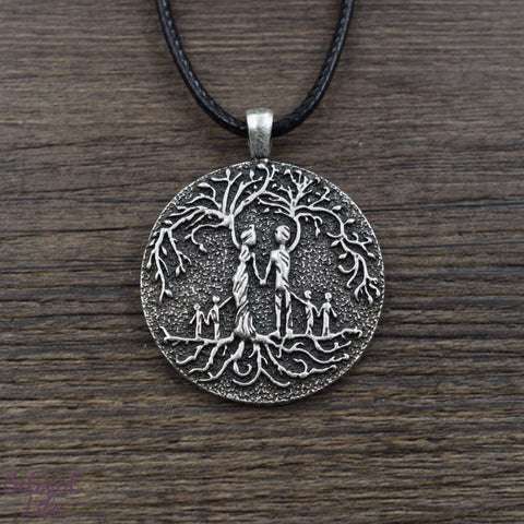Beloved Life Jewelry: Grandparents & 4 Grandchild 'Tree of Life' Pendant Necklace [Silver]