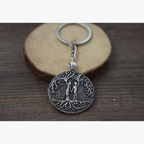 Beloved Life Jewelry: Husband & Wife 'Tree of Life' Pendant Keychain [Silver]