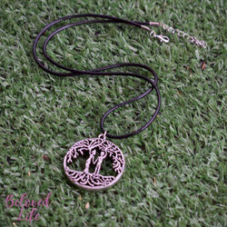Beloved Life Jewelry: Man + Woman 'Tree of Life' Hollowed-Out Pendant Necklace [Antique Silver]