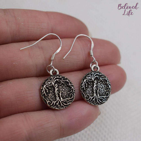 Beloved Life Jewelry: Mom & 1 Child 'Tree of Life' Pendant Earrings [Silver]