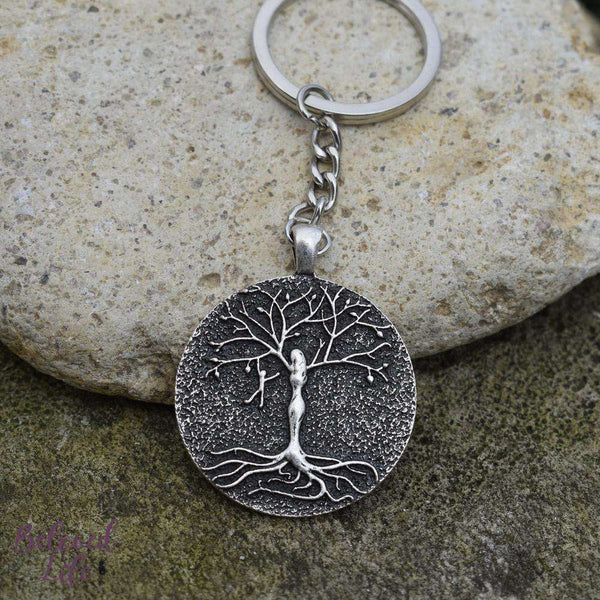 Beloved Life Jewelry: Mom & 1 Playful Child 'Tree of Life' Pendant Keychain [Silver]