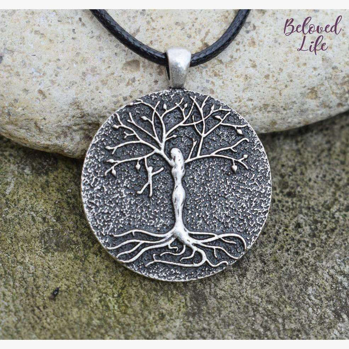 Beloved Life Jewelry: Mom & 1 Playful Child 'Tree of Life' Pendant Necklace [Silver]
