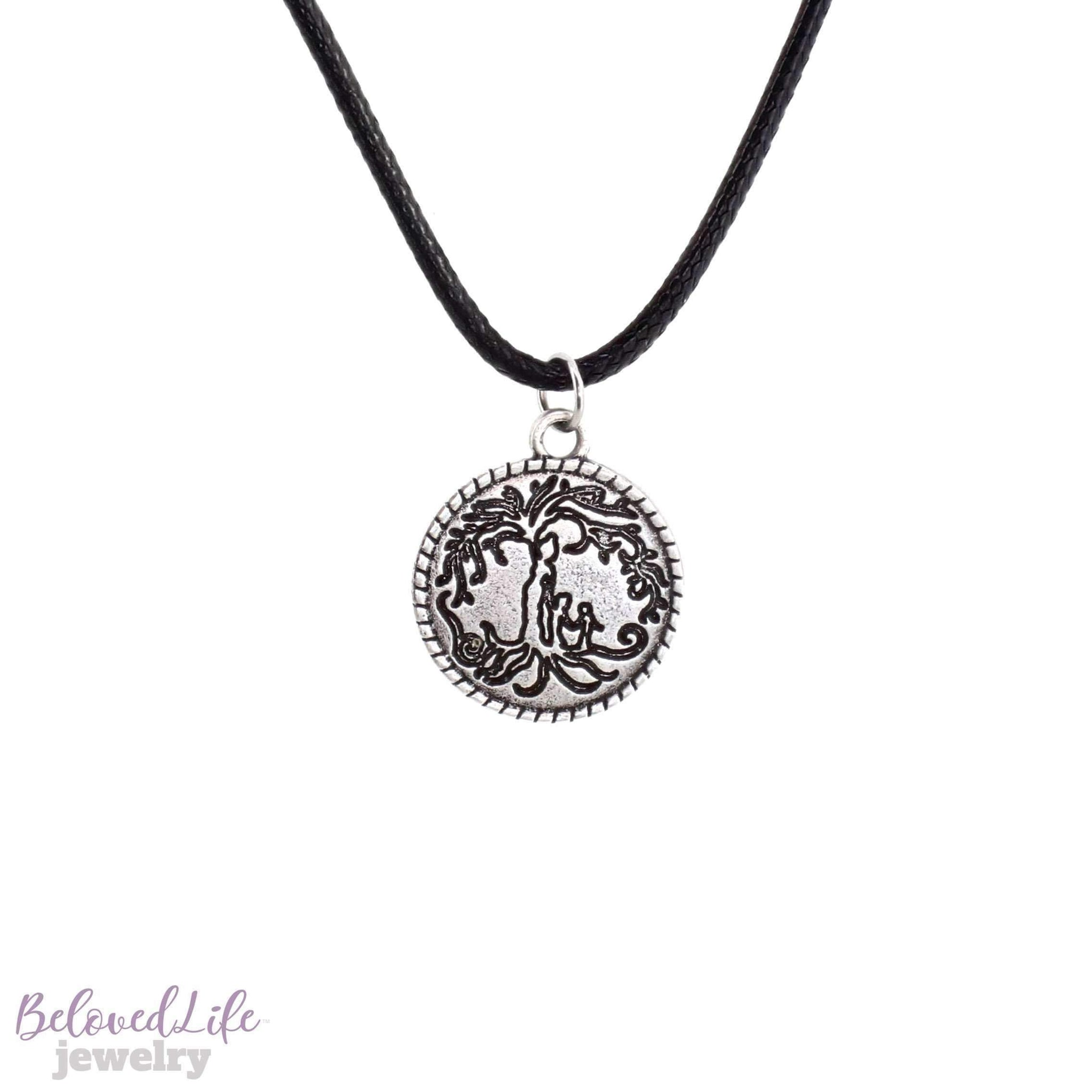 Beloved Life Jewelry: Mom & 2 Child 'Tree of Life' Coin Pendant Necklace [Antique Silver]
