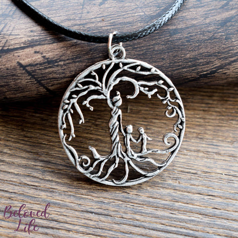 Beloved Life Jewelry: Mom & 2 Child 'Tree of Life' Hollowed-Out Pendant Necklace [Antique Silver]