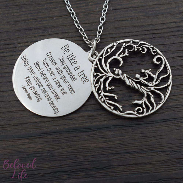 Beloved Life Jewelry: Mom + 2 Child 'Tree of Life' Hollowed-Out + Quote Pendant Necklace [Antique Silver]