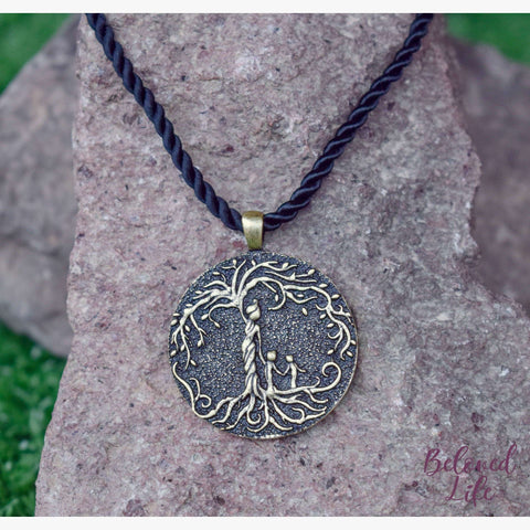 Beloved Life Jewelry: Mom & 2 Child 'Tree of Life' Pendant Necklace [Bronze]